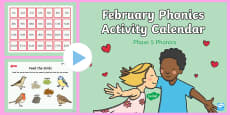 Phase 5 February Phonics Activity Calendar PowerPoint