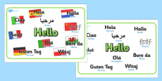 Mixed Language Hello Display Signs
