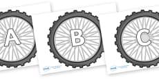 A-Z Alphabet on Bike Wheels