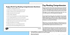 Rugby World Cup Reading Comprehension Pack