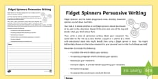* NEW * Years 3-6 Fidget Spinners Persuasive Writing Activity Sheet