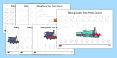 Talking Steam Train Themed Pencil Control Sheets