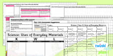 PlanIt - Science Year 2 - Uses of Everyday Materials Unit Assessment Pack