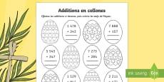 Additions en colonnes : les oeufs de Pâques
