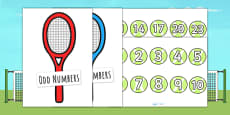 Tennis Ball and Racket Odd and Even Sorting Activity