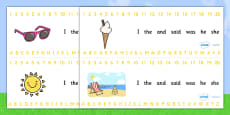 Combined Alphabet and Number Strips (Summer)