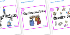 Pink Themed Editable Square Classroom Area Signs (Plain)