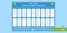 Common Exception Words Years 1 and 2 Alphabet Word Mat