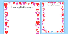 Father's Day I Love My Dad Because... Full Page Borders