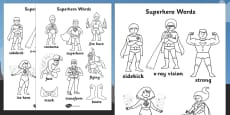 Superhero Themed Words Colouring Sheet