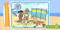 Phase 5 wh Words Beach Scene Magnifying Glass Activity Sheet