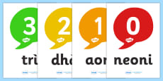 0-20 Scottish Gaelic Numbers Display Posters