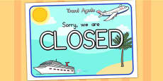 Australia - Travel Agents Closed Role Play Sign