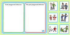 Good Playground Behavior Sorting and Discussion Cards USA