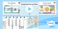 * NEW * PlanIt Y1 Measurement Coins and Notes (1) Lesson Pack