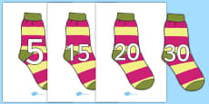 Numbers 0-31 on Socks