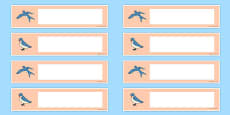 Swallow Themed Drawer Peg Name Labels