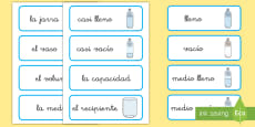* NEW * Tarjetas de vocabulario: Capacidad - CI