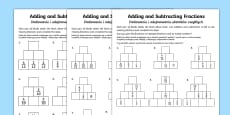 Adding and Subtracting Fractions Activity Sheet English/Polish