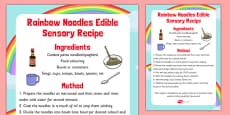 Rainbow Noodles Edible Sensory Recipe