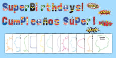 Superhero Themed Birthday Display Pack Spanish Translation