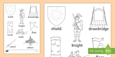 Castles and Knights Words Colouring Sheet