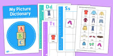 Picture Dictionary Clothes Word Cards Pack