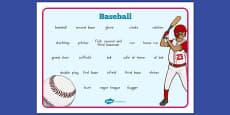 Baseball Vocabulary Mat