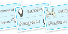 Polar Animals Group Table Signs