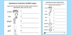 AFL Australian Football League Alphabet Ordering Activity Sheet