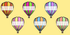 Editable A4 Hot Air Balloons (Stripes)