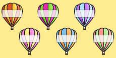 Editable A4 Hot Air Balloons (Stripes)
