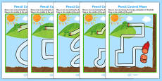 Pencil Control Maze Worksheets to Support Teaching on The Very Hungry Caterpillar