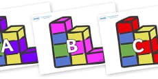 A-Z Alphabet on Building Blocks