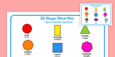 2D Shape Word Mat Portuguese Translation