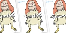 Days of the Week on Wild Thing (2) to Support Teaching on Where the Wild Things Are