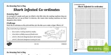 Shark Infested Co-ordinates Activity Sheet