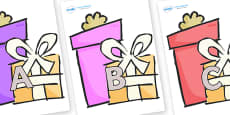 A-Z Alphabet on Presents - Gifts