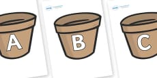 A-Z Alphabet on Flower Pots (Plain)
