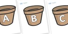 A-Z Alphabet on Flower Pots (Plain)