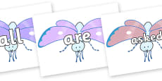 Tricky Words on Blue Butterfly to Support Teaching on The Crunching Munching Caterpillar