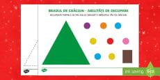 Brad de Crăciun - Fișă de exersare a abilităților de decupare