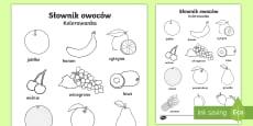 * NEW * Kolorowanka Słownik owoców