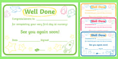 First Day Award Certificates