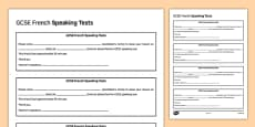 GCSE French Speaking Test Appointment Slip Template