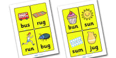 CVC Word Cards U for Visually Impaired