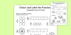 Colour and Label Fractions Worksheet Romanian Translation