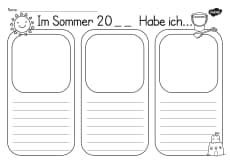 Summer Holiday Writing Template German