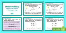 Year 6 Maths Mastery Negative Numbers Challenge Cards
