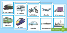 Transport Word and Picture Sorting Cards Spanish